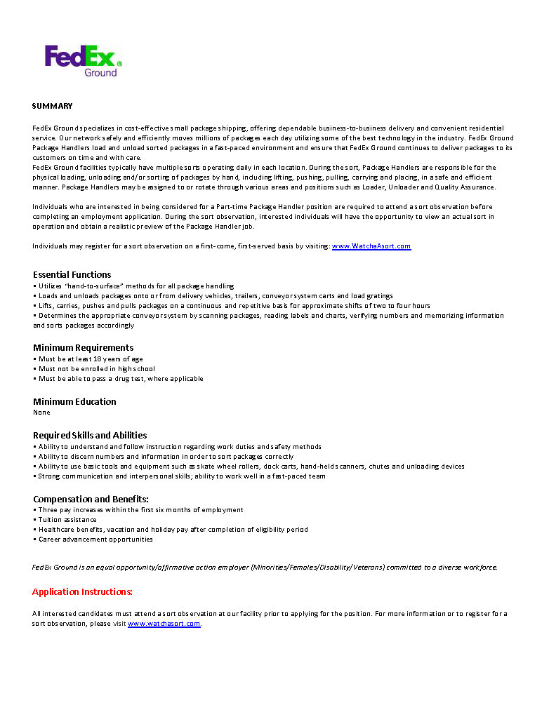 Package Handler Job Description Doc