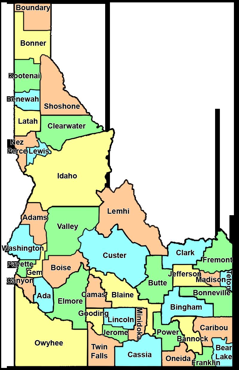 ICHA -- Hispanic Potion Statistics by County Map Of Ada County Idaho on